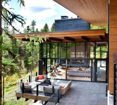 Modern Montana Mountain-Home with windows, patios, and fireplaces everywhere-Stillwater Architecture #modernhomewindows
