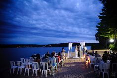 Evening wedding on our sandy beach #LakeoftheOzarks #Missouri