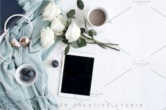 Ipad Mockup | Roses & Headphones by Her Creative Studio on @creativemarket