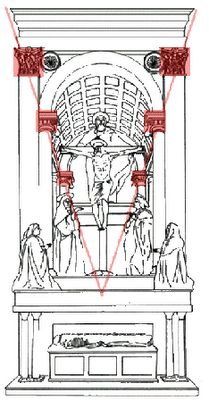 7. •Las figuras tenían que ser dibujadas  atendiendo a su posición en el espacio y su relación con los puntos de fuga de la imagen. TODO  debía someterse a la PERSPECTIVa  CUANDO UN CUERPO SE SITUABA EN PERPENDICULAR AL PLANO DE SUPERFICIE DEL CUADRO, su posición estaba marcando profundidad por sí misma,  Y es UN ESCORZO, que supone un acierta violencia visual (Cristo muerto de Montegna) PERO, CUALQUIER `POSICIÓN QUE INDIQUE PROFUNDIDAD ES UN ESCORZO.