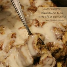 Slow Cooker Cinnamon Roll Breakfast Casserole; A melt in your mouth cinnamon roll casserole made in a slow cooker. This is one delicious breakfast that your entire family will devour!