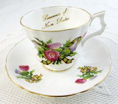 Royal Windsor Nova Scotia Tea Cup and Saucer, Vintage Bone China, Souvenir Tea Cup