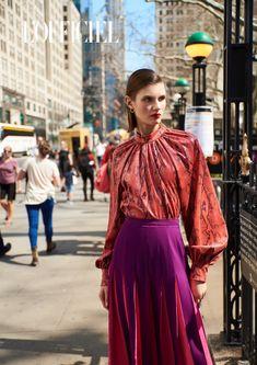 L'Officiel Azerbaijan July 2018 Alicia Holtz by Alfonso Anton Cornelis - Fashion Editorials Office Fashion, Fashion Shoot, New York Fashion, Editorial Fashion, Dope Outfits, City Style, Studio Portraits, European Fashion, Vintage Dresses