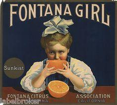 """Fontana Girl"" vintage crate label"