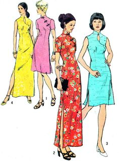 1970s Dress Pattern Simplicity 5010 Cheongsam by paneenjerez, $25.00