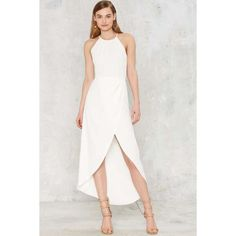Ananda Maxi Dress ($31) ❤ liked on Polyvore featuring dresses, white, ruched dress, shirred maxi dress, ruched maxi dress, faux wrap dress and asymmetrical maxi dress