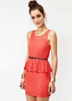 Lace Peplum Dress in Coral