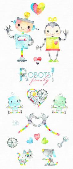 Robots Family. Watercolor vintage clipart retro kids dog | Etsy Watercolor Artwork, Watercolor Design, Watercolor Animals, The Words, Vintage Clipart, Robot Clipart, Robot Cute, Retro Kids, Bullet Journal Art