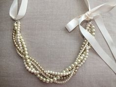 Vintage style Cream and champagne pearl and by SvenjasTreasures, $49.00