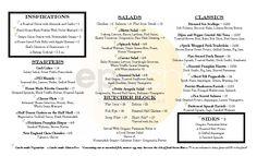 Fall 2014 dinner menu