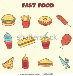 "Buy the royalty-free Stock vector ""fast food doodle icons, vector hand drawing style"" online ✓ All rights included ✓ High resolution vector file for pri. Snacks For Work, Healthy Work Snacks, Healthy Food, A Food, Food And Drink, Make An Infographic, Doodle Icon, Doodle Art, Food Doodles"