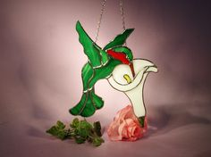 Stained Glass Suncatcher Hummingbird with Cala Lily  (533) by StainedGlassbyWalter on Etsy