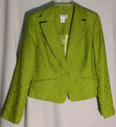DUE PER DUE Green Apple 100% Silk Jacquard Jacket/Blazer - Inside Pockets - 10 #DueperDue #JacketBlazer #due #per #jacket #blazer #green #greenapple #silk #jacquard #10