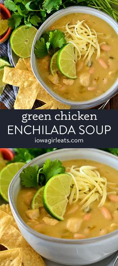 Green Chicken Enchiladas, Chicken Enchilada Soup, Best Soup Recipes, Yummy Chicken Recipes, Yum Yum Chicken, Vegetable Soup Healthy, Vegetarian Soup, Potato Cheese Soups, Slow Cooker Soup
