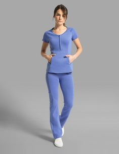Yoga Pant in Ceil Blue is a contemporary addition to women's medical scrub outfits. Shop Jaanuu for scrubs, lab coats and other medical apparel. Ceil Blue Scrubs, Navy Scrubs, Black Scrubs, Cute Nursing Scrubs, Cute Scrubs, Scrubs Outfit, Scrubs Uniform, Boho Outfits, Fashion Outfits