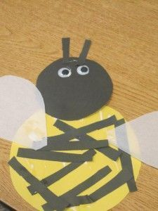 Bubble bee with construction paper and wax paper for wings