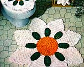 Crochet Bathroom Set Pattern, Crocheted Decor, Bathroom Crochet, Crochet Flower Rug,daisy rug, Bath rug,PDF, Instant Download