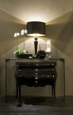 Console table with cabinet beneath....love the composition of this vignette.