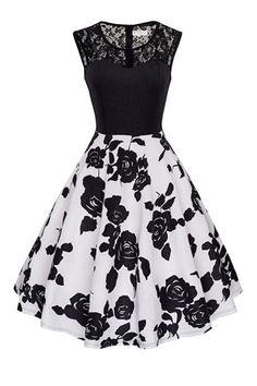 Women Lace Patchwork Casual Dress Floral/Polka Dot Printed Summer Sleeveless A L. - Women Lace Patchwork Casual Dress Floral/Polka Dot Printed Summer Sleeveless A Line Party Dress black+black floral Source by reikakazue - Cute Prom Dresses, Dance Dresses, Elegant Dresses, Pretty Dresses, Homecoming Dresses, Vintage Dresses, Beautiful Dresses, Casual Dresses, Fashion Dresses