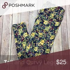 LuLaRoe TC Leggings LuLaRoe TC Leggings-floral design with purple and yellow *Leggings are brand new but do not come with tags attached LuLaRoe Pants Leggings