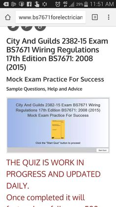 The 37 best bs7671 17th edition wiring regulations images on cg 2382 15 17th edition mock exam work in progress greentooth Gallery