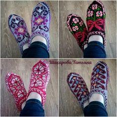 Одноклассники Knitted Slippers, Knitting Socks, Mitten Gloves, Crochet, Projects, How To Make, Beautiful, Fashion, Slipper Socks