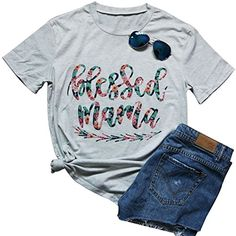 6f74ed265ab Blessed Arrow Letter Printed T-Shirt Women s Casual Round Neck Short Sleeve  Tops