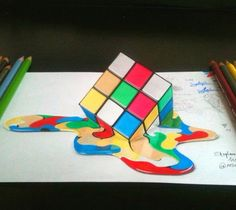 Rubik's cube. 3D drawing. By Stephan Moity.
