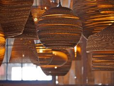 Upcycling Cardboard can be so fun and awesome! Below you'll find 10 ways to Upcycle cardboard. I hope these inspire you and most can even be enjoyed with the Indulge- upcycle corrugated Restaurant Lighting, Restaurant Design, Suspension Design, Luminaire Design, Led Lampe, Light Fittings, Light Fixtures, Lighting Design, Lighting Ideas