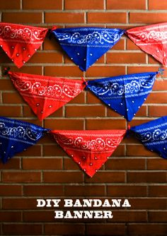 DIY bandana banner on onecharmingparty.com #wildwestparty #westernparty {Pink, Green and Yellow}