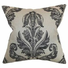 "Cotton throw pillow with a damask motif. Made in the USA.     Product: PillowConstruction Material: Cotton cover and 95/5 down fillColor: Black and linenFeatures:   Insert includedHidden zipper closureMade in the USA Dimensions: 18"" x 18""Cleaning and Care: Spot clean"
