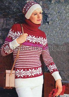 Вязать свитер жаккардовым узором спицами женщинам