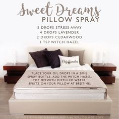 {new} Love of Essential Oils Restful sleep is a spray away with this nontoxic recipe: Sweet Dreams Pillow Spray, featuring Young Living essential oils.Sweet Dreams Sweet Dreams may refer to: Essential Oil Spray, Essential Oils For Sleep, Essential Oil Diffuser Blends, Doterra Essential Oils, Young Living Essential Oils, Yl Oils, Living Essentials, Linen Spray, Young Living Oils