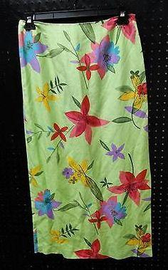David Brooks Silk & Linen Skirt Lime Green Floral Size 12 B251