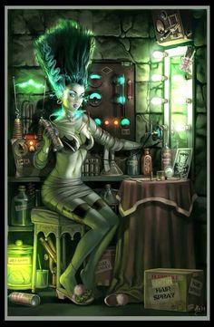 The Bride's Art - La Novia de Frankenstein as a Pin-Up Girl_by Aly Fell 3d Fantasy, Fantasy Kunst, Dark Fantasy, Fantasy Witch, Rockabilly, Monster Art, Art Frankenstein, Digital Portrait, Digital Art