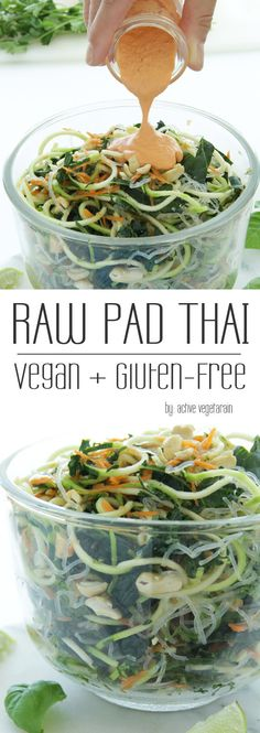Raw Vegan Pad Thai – Active Vegetarian It's no secret that plant foods are good for you. Study after study supports the benefits of fruits and vegetables in staying healthy and preventing chronic disease. And many people all around the… Raw Vegan Recipes, Healthy Recipes, Vegan Foods, Vegan Dishes, Whole Food Recipes, Vegetarian Recipes, Paleo, Vegetarian Salad, Raw Vegan Dinners