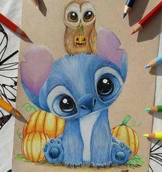 Stitch and owl by SkyKristal on DeviantArt stitch and owl [reupload] by SkyKristal on DeviantArt Cute Disney Drawings, Disney Sketches, Cute Animal Drawings, Kawaii Drawings, Art Drawings Sketches, Cute Drawings, Drawing Faces, Art Illustrations, Arte Disney