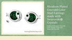 Beautiful Fish Shape Emerald Color Stud Earrings made with Swarovski Crystals. Buy Now: http://www.glimmering.co.in/swarovski-crystals-emerald-color-stud-earrings-ge036em.html