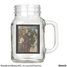 Shop Dracula at Calvary of Christ Mug created by superkalifragilistic. Mason Jar Glasses, Mason Jars, Dracula, Design Your Own, Christ, Mugs, Tableware, Dinnerware, Tumblers