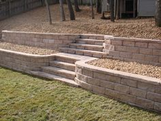 cheap simple back yard retaining wall and garden steps design with