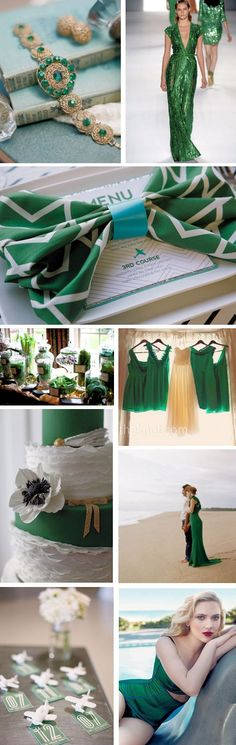 #Emerald green weddings for 2013. Pantone color of the year.