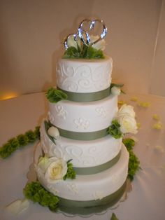 Sage wedding cake with hydrangeas and roses. Love it! Minus the tacky metal hearts on top. lol