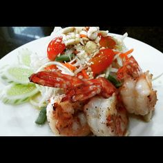 Grilled prawns and papaya salad, made during a cooking class with our guests!
