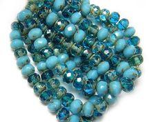 25 Fireside Crystal Mix Czech Glass Rondelle Beads 8x6mm