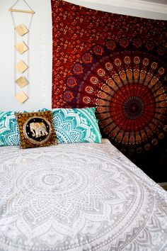 This red & blue bedroom with accents of gold is HEAVEN☽ ✩ Save 25% off all orders with code PINTERESTXO at checkout | Bohemian Bedroom + Home Decor | Mandala Tapestries, Pillows & Gold Moon Star Wall Hanging Decor + Twilights by Lady Scorpio | Shop Now LadyScorpio101.com | @LadyScorpio101 | Photography by Luna Blue @Luna8lue