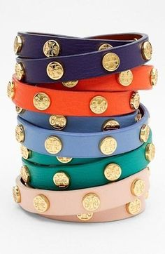 Tory Burch #designer #jewelry #bracelet #fashion #style  logo wrap