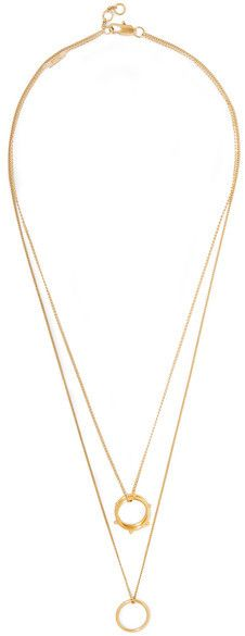 Chloé's free-spirited aesthetic carries through to its line of jewelry. This 'Carly' necklace is comprised of two featherweight chains strung with a trio of gold-plated rings. You can adjust it to three separate lengths to work with different necklines.