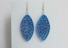 Quilled Earrings Metalic Blue on Blue Paper by BarbarasBeautys, $14.00