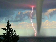 Incredible Photo of lighting with a tornado... water, adriat sea, lightning, seas, natur, weather, tornados, storm, island