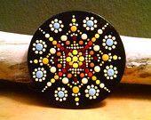 Mandala Dot art ~Hand Painted Wood Magnet ~Miranda Pitrone ~Gift Idea~ Pointillism